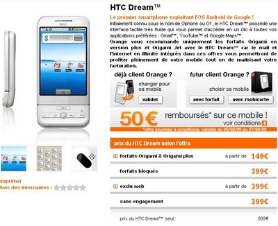 Prix HTC Dream Orange
