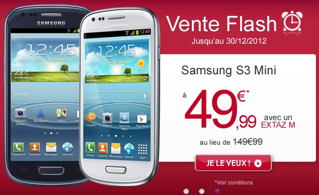 reduction de 50 euros sur le galaxy s3 mini chez virgin mobile. Black Bedroom Furniture Sets. Home Design Ideas