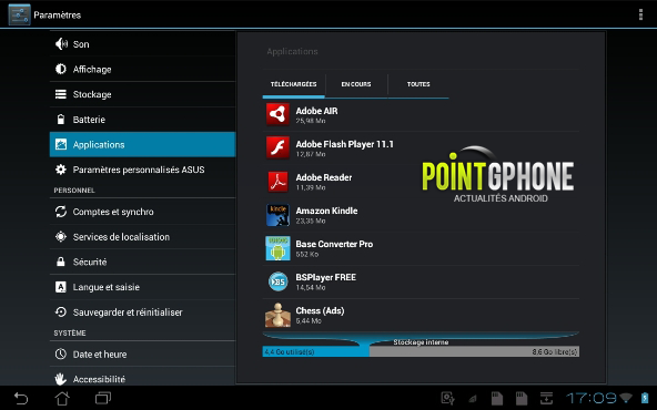 Applications Flash Player installes sous tablette Android
