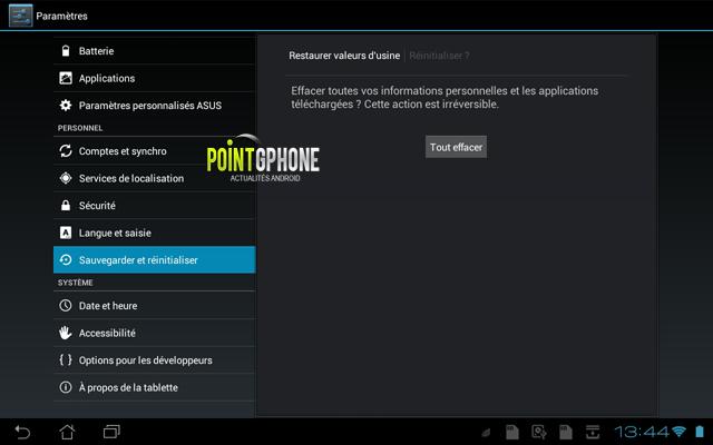 Screenshot 2 - Ecran réinitialisation tablette effacement des données