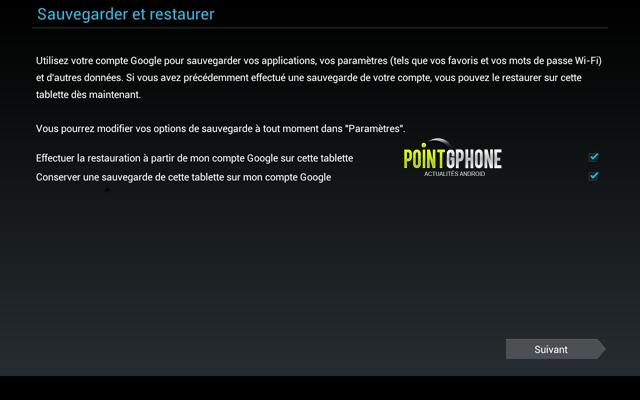 Screenshot 4 - Démarrage usine - Validation compte de sauvegarde Google Play pour la restauration tablette