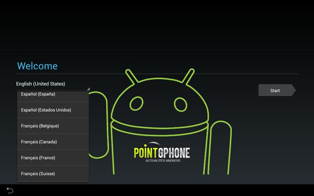Screenshot 4 - Ecran de démarrage d'usine tablette Android