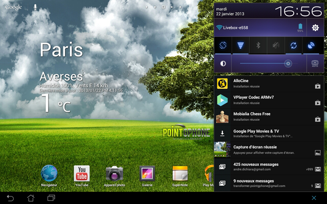 Screenshot 5 - Ecran réinstallation des applications via Google Play en temps réel après restauration d'usine