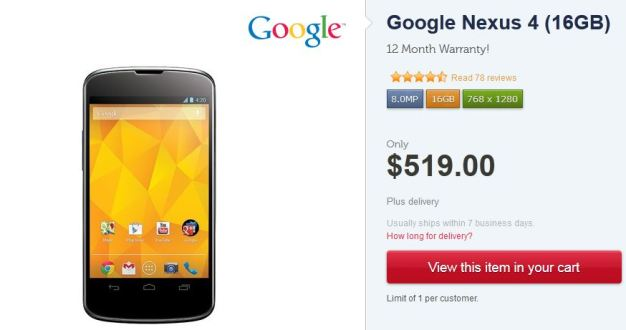 nexus 4 disponible