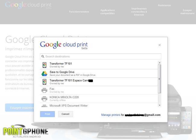 imprimer avec un équipement Android 2