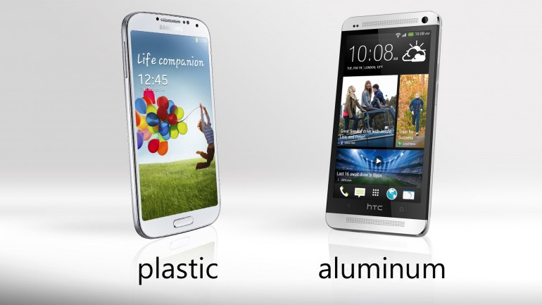 htc one vs galaxy s4 design