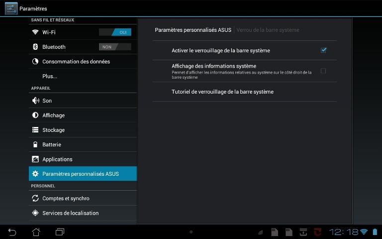 verouillage barre système sous Android 28082