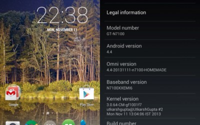 OmniROM android 4.4 galaxy note 2 1211