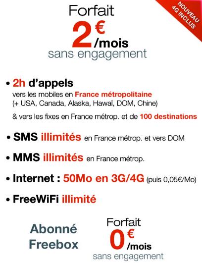 forfait 2€ free 1012
