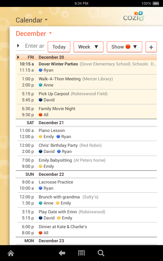 Cozi Family Calendar & Lists