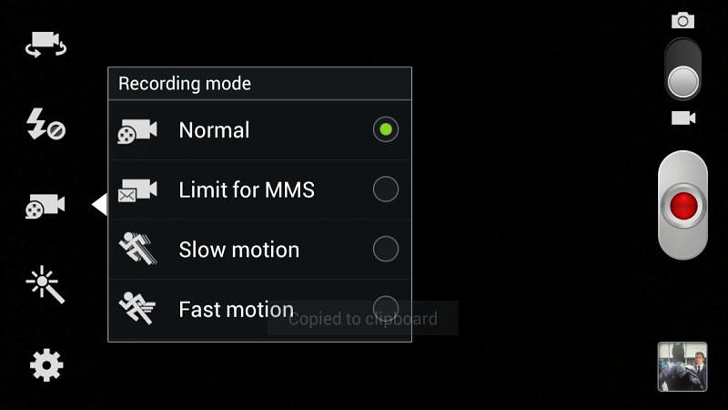 Samsung Galaxy Note 2 interface caméra vidéo 1