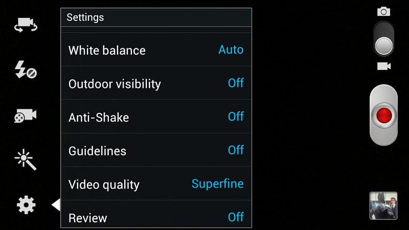 Samsung Galaxy Note 2 interface caméra vidéo 2