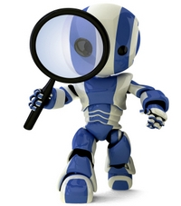 Glossy Robot with Magnifying Glass