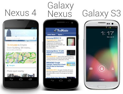 nexus 4 VS galaxy Nexus VS Galaxy S3