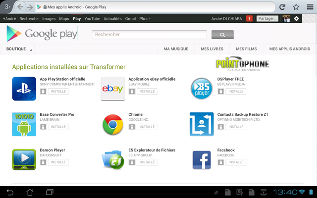 Screenshot 1 - compte Google Play