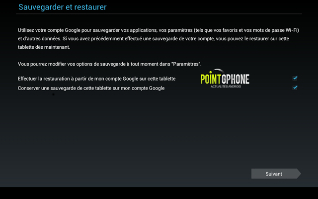 Screenshot 4 - Démarrage usine - Validation compte de sauvegarde Google Play pour la restauration tablette