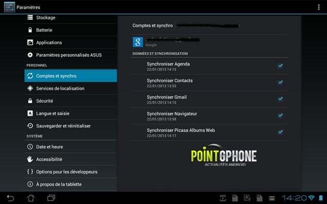Screenshot 5 -Ecran Comtpes et Synchro après restauration d'usine