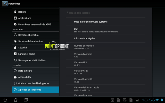 Screenshot 5 - Ecran version OS Android après restauration d'usine