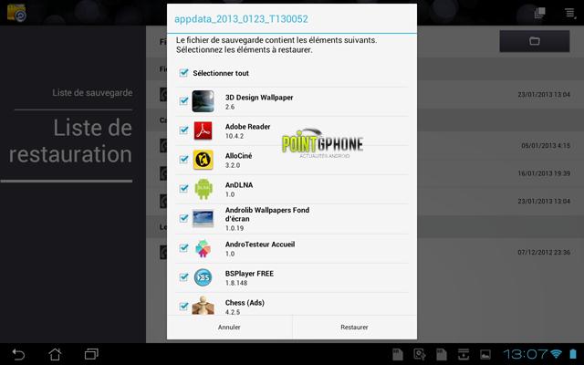 Screenshot 8 - Ecran Liste de Restauration des données applicatives après restauration d'usine