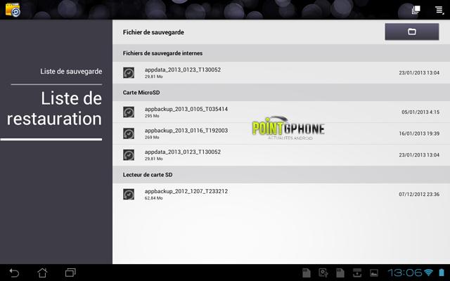 Screenshot 8 - Ecran Liste de Restauration des données après restauration d'usine