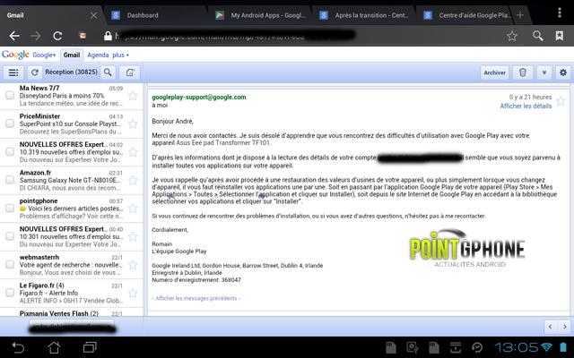 Screenshot 9 - Réponse Support Google Play
