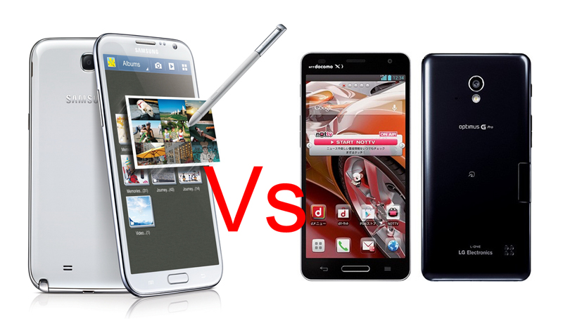 Galaxy Note 2 VS Optimus G Pro