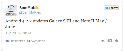 tweet mise à jour galaxy s3