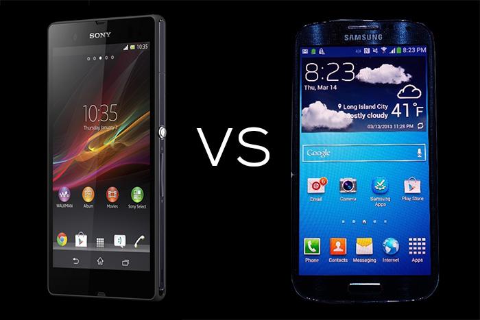 sony xperia Z VS Samsung Galaxy S4 1