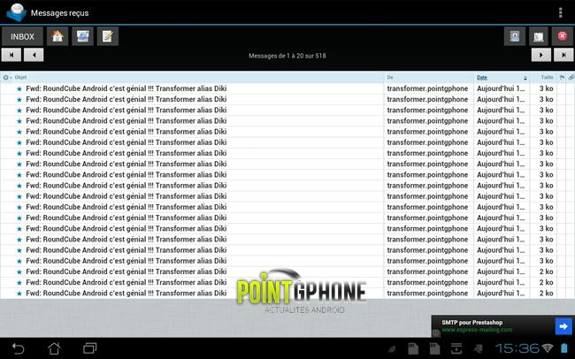 Ecran Console Boite de Réception RoundCube Android