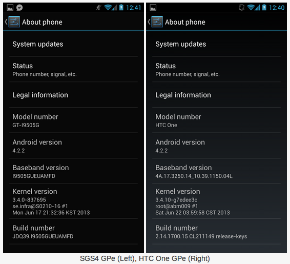 Android 4.2.2 galaxy s4 et HTC one
