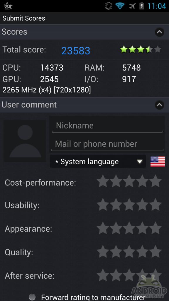 Test Benchmark Snapdragon S800 19062