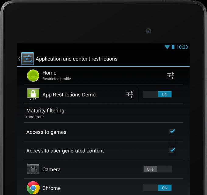 android 4.3 profil restreint