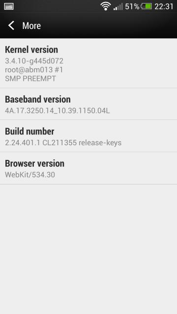 HTC One Android 4.3 2608