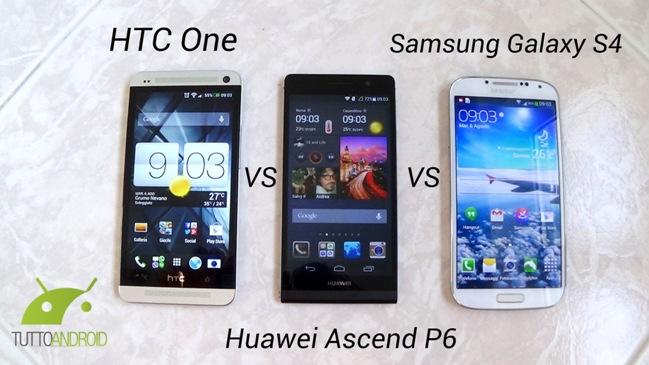 htc one vs galaxy S4 vs Ascend P6 070852