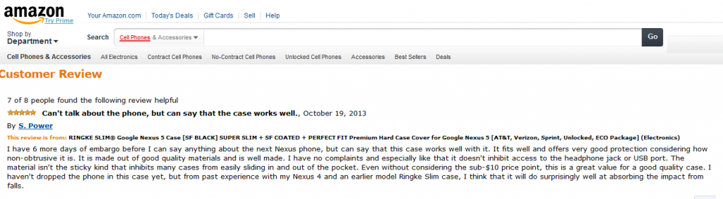 embargo amazon nexus 5 2110