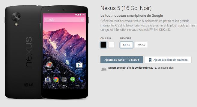 Google Nexus 5 prix sur le play store
