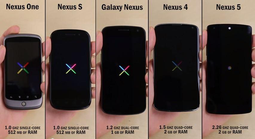 Nexus One vs Nexus S vs Galaxy Nexus vs Nexus 4 vs Nexus 5 071103