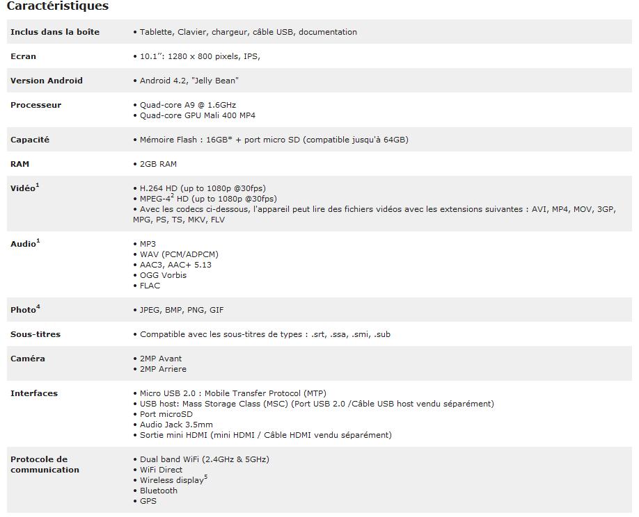 caractéristiques archos 101 XS 2 0611