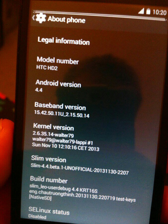 android 4.4 sur htc hd 2 0212