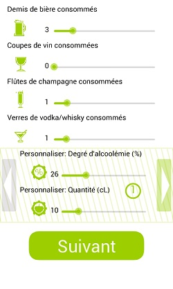 Application alcootest sur Android