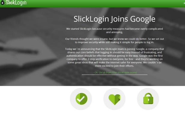 Page d'accueil du site internet SlickLogin