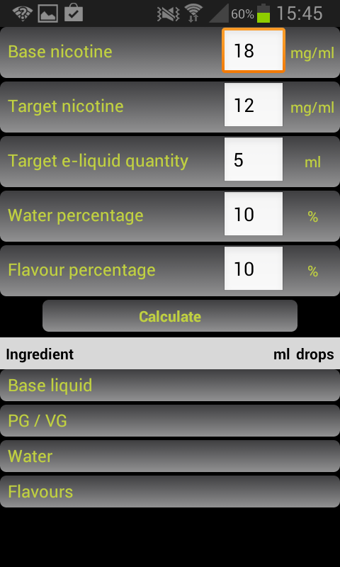 E-Liquid Calculator appli