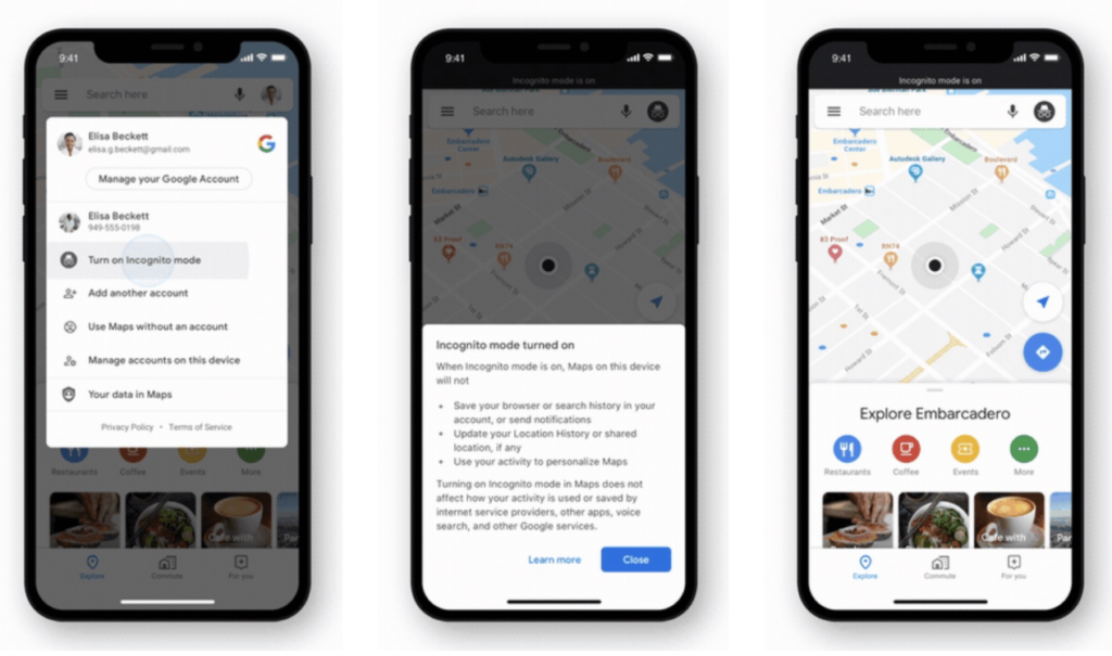 google maps mode incognito ios