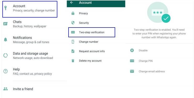 whatsapp etapes pour ajouter un code PIN