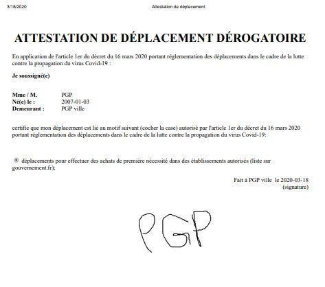 PGP Attestation de déplacement dérogatoire